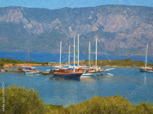 Oil painting. Sea, boats, yachts - 141861134