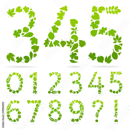 Printed kitchen splashbacks White Vector Numbers of green leaves. Design template sign. Figures consisting of floral elements.