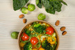 Detox salad for vegetarian, vegan food, vitamin snack and health life. Top horizontal view on light wood background and copy space. White overhead flat food photo.