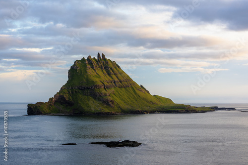 Vagar island, Faroe Islands, Denmark. Tinholmur islet at sunset.