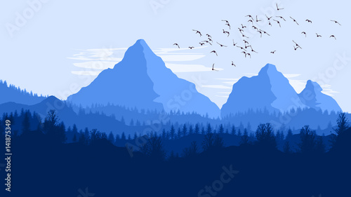 Fototapeta Mountain Landscape Illustration obraz na płótnie