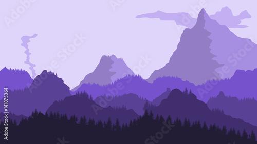 Printed kitchen splashbacks Light blue Mountain Landscape Illustration
