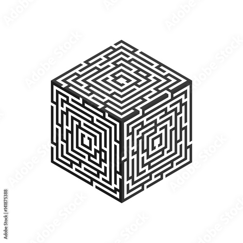 Isometric labyrinth cube, for logo, business concept, infographic ...