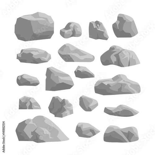 rocks and stones set on white background Wallpaper Mural