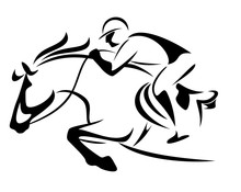 Show Jumping Emblem - Black And White Vector Outline Of Horse And Jockey