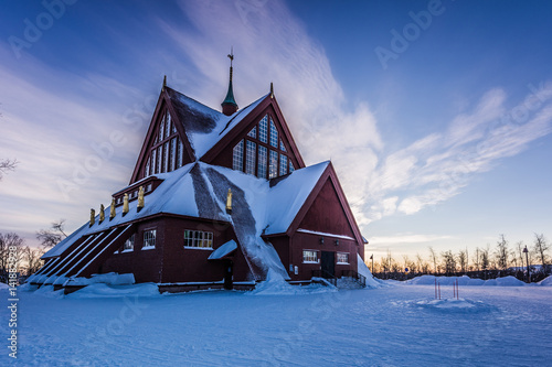 Foto op Canvas Monument Lapland, Sweden - January 29, 2014: The Church of Kiruna, Sweden
