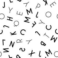 Tapeta Black letter seamless pattern on white background
