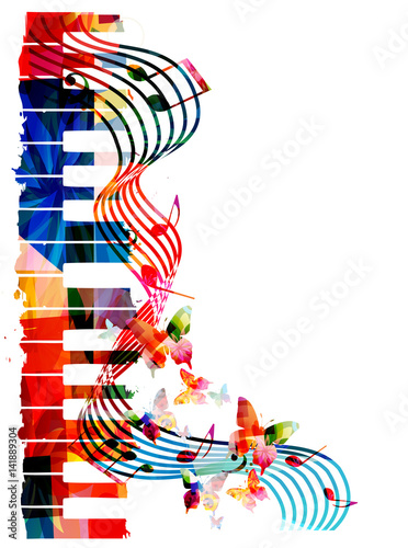 Colorful piano keyboard with music notes and butterflies isolated