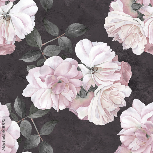 roze-kwiat-akwarela-ciemny-wzor