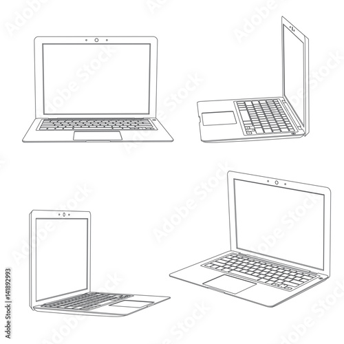 Computer portatile - laptop, viste multiple, frontale e laterali, illustrazione Canvas-taulu