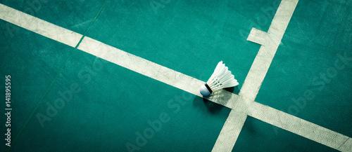 shuttlecock on badminton playing court Wallpaper Mural