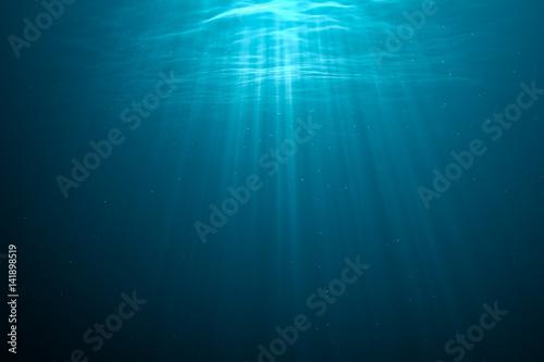 Fototapeta 3D rendered illustration of light rays underwater.
