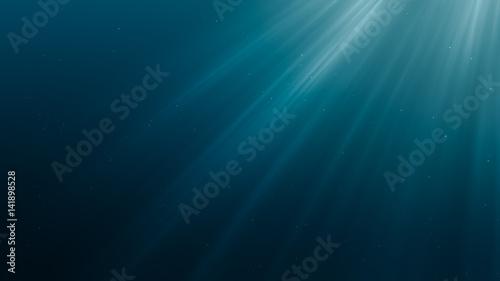 Fotografie, Obraz  Sun light rays under water. 3D rendered illustration.