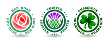 Collection Of Round Logotypes With Rose, Thistle, Shamrock. National Symbols Of England, Scotland, Ireland