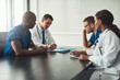 canvas print picture - Multiracial medical team having a meeting
