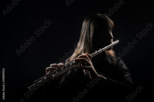 Flute player Flutist playing instrument flute music Canvas Print