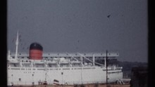 1967: Still Shot Of A Docked Cruise Ship MONTREAL CANADA