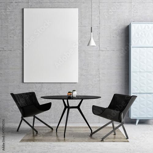 Mock up poster, hipster dining room background, 3d illustration Poster