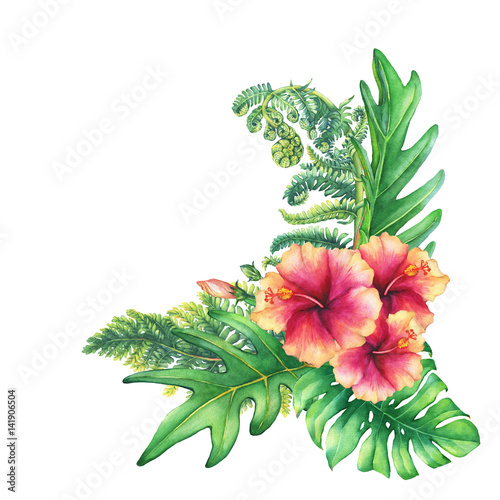 Ilustration of a bouquet with yellow pink hibiscus flowers and ilustration of a bouquet with yellow pink hibiscus flowers and tropical plants hand drawn mightylinksfo