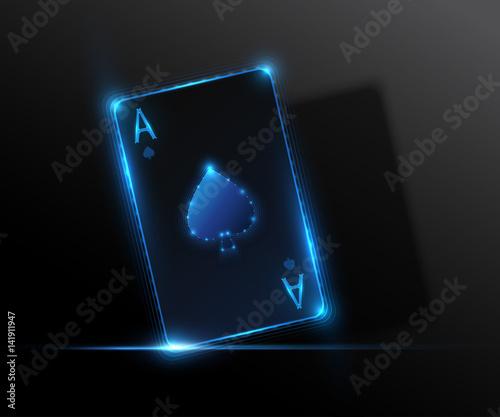 Photo  Ace card, poker casino illustration. Vector graphic.