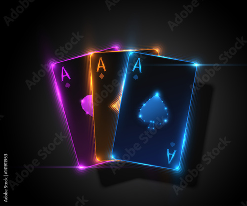 Photo  Three ace card, poker casino illustration. Vector graphic.