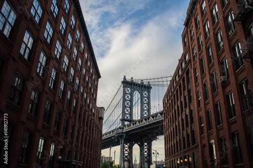 Foto op Canvas Brooklyn Bridge Manhattan Bridge and Brick Buildings in Brooklyn, New York, USA