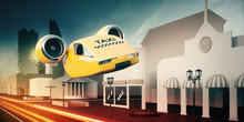 Flying Taxi Car Perform Express Delivery Of Passenger By Air. 3d Illustration