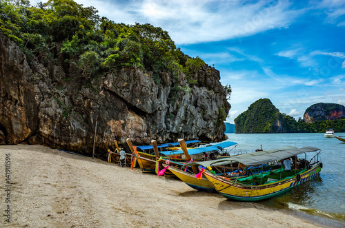 Fotografie, Obraz  Boats on the beach of Phuket, Thailand