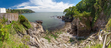 Panoramic View Of Castle Cove At Dartmouth, Devon, UK