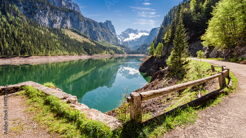 Montage in der Fensternische Gebirge Sunny sunrise at Gosausee lake in Gosau, Alps, Austria, Europe
