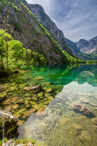 Papiers peints Alpes Obersee lake in Alps in spring, Germany, Europe