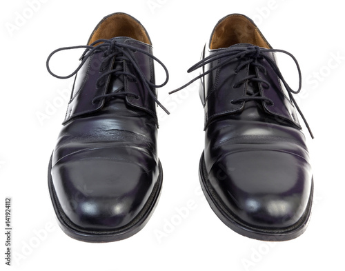 Mens Shiny Black Dress Shoes Isolated Buy This Stock Photo And