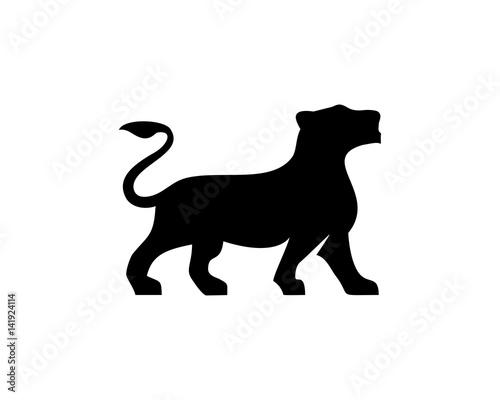 Fotografie, Obraz  Lioness silhouette vector