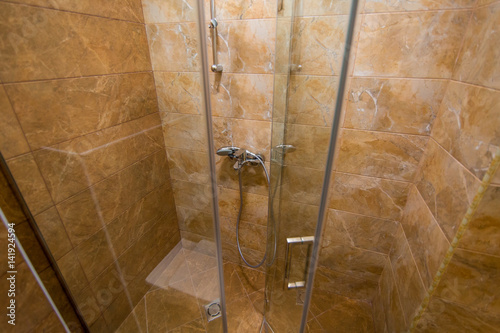 Shower head in the bathroom. Plumbing in shower - Buy this stock ...
