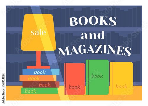 Flat Design Books Shop Facade Icon Store Modern Awning Architecture Window  Exterior And Market Front Urban