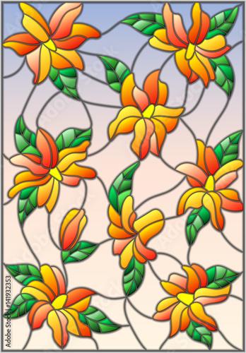 ilustracja-w-stylu-witrazu-z-przeplatanymi-lilii-i-lisci-na