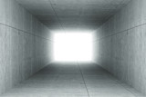 Fototapeta Perspektywa 3d - 3d rendering : illustration of Abstract square cement concrete tunnel interior,light at the end of tunnel, go to success concept, abstract tunnel background