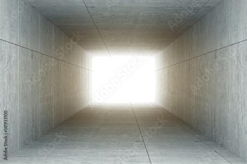 Plakat 3d rendering: ilustracja abstrakta kwadrata cementu betonowy tunelowy wnętrze, światło przy końcówką tunel, iść sukcesu pojęcie, abstrakcjonistyczny tunelowy tło