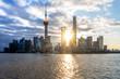Shanghai skyline panorama,landmarks of Shanghai with Huangpu river in China.
