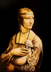 Fototapeta na wymiar Unfinised reproduction in process of painting Lady with an Ermine by Leonardo da Vinci. Graphic effect.