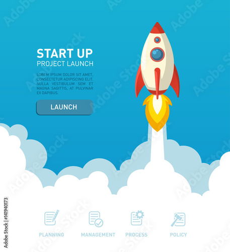 flat style rocket ship illustration in a website bacground