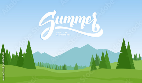 Spoed Foto op Canvas Blauwe hemel Vector illustration. Mountains landscape with hand lettering of Summer and pines on foreground.