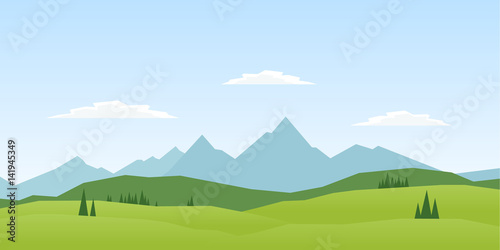 Canvas-taulu Vector illustration: Summer Mountains landscape with pines and hills