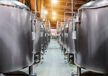 Rows Of Steel Tanks For Beer F...