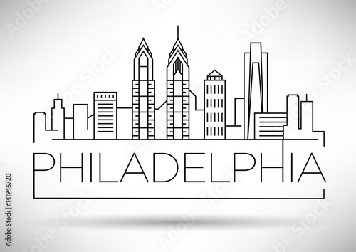 Fotomural  Minimal Philadelphia Linear City Skyline with Typographic Design
