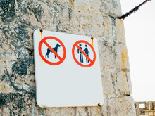 A Sign Is Forbidden With A Dog. A Sign Is Prohibited In Swimsuits.
