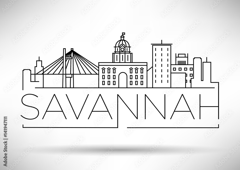 Fototapeta Minimal Savannah Linear City Skyline with Typographic Design