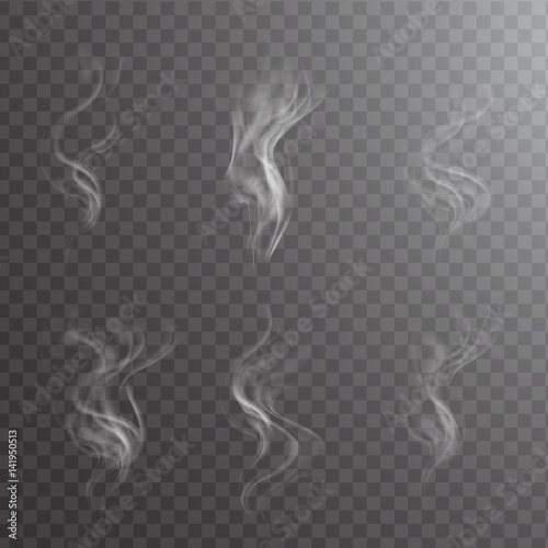 White Cigarette Smoke Waves On Transparent Steam Over Cup Dark Background