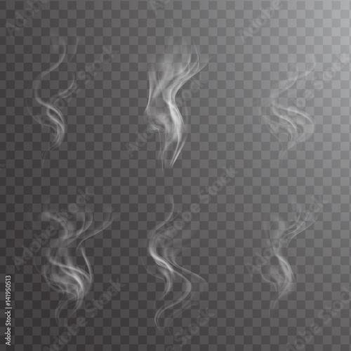 Fotografía  White cigarette smoke waves on transparent