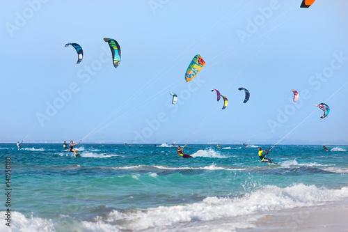Kitesurfers on the Lefkada island, Greece.